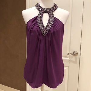 Bebe purple halter with diamond rhinestones
